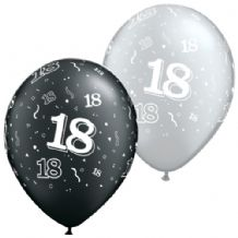 18th Black & Silver - 11 Inch Balloons 25pcs